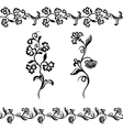 silhouette design flower vector image