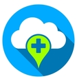 Medical Cloud Flat Round Icon with Long Shadow vector image