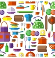 Seamless kitchen tools background vector image