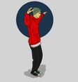 a guy in a green hat and red hoody dancing on a vector image