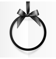 Black holiday round frame with bow and silky vector image