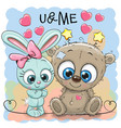 cute bear and rabbit girl vector image
