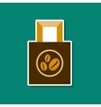 paper sticker on stylish background coffee package vector image