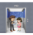 Kids with gadgets at the elevator vector image vector image