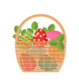 easter icon with basket full of colored eggs vector image
