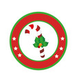 color circular frame with christmas candy cane vector image