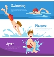 The cheerful Boys swims in the pool vector image