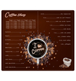 A Coffee Menu Design for Cafe and Coffeehouse vector image