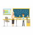 chemistry lesson - modern cartoon people vector image