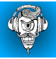 Cyclops with headphones listening to music vector image
