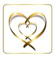 gold heart ribbon 2 vector image
