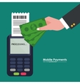 mobile payment dataphone-hand with bill dollar vector image