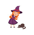 young angry red-haired girl witch wearing purple vector image