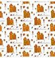 Autumn seamless pattern of houses vector image