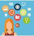 character woman social media icons vector image