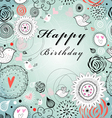 floral greeting card for birthday vector image