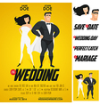 Funny super hero movie poster wedding invitation vector image