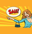 the woman indicates sales vector image vector image