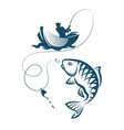 fisherman catches a fish vector image vector image