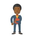 Black man holding red notebook vector image