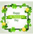 Green clover leaves and golden coins vector image