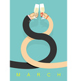 8 March Man and woman drinking champagne Glass of vector image