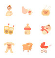 birth icons set cartoon style vector image