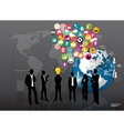 Business people silhouettes with cloud of vector image