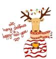 Hand drawn christmas deer wearing scarf vector image