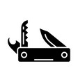 knife army multipurpose - swiss folding knife icon vector image