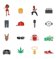 Rap Music Flat Icons vector image