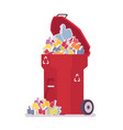 red trash bin with likes vector image