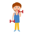 Young boy with dumbbells vector image