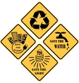 recycling and ecological set of yellow signs vector image