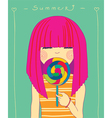 girl and candy vector image vector image