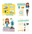 home cleaning and washing woman ironing vector image vector image