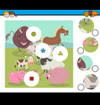 Match pieces game with farm animals vector image