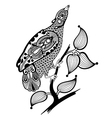 hand draw ornate ink bird decoration vector image