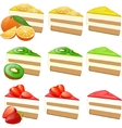 Fruit cakes set vector image vector image