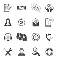 Black And White Customer Support Icon Set vector image
