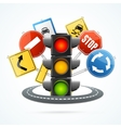 Traffic Light and Road Sign Concept vector image