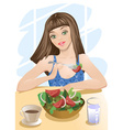 Woman Eating Salad Cartoon vector image