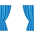 Blue curtain opened on white background vector image