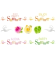 Summer bunners with text swirls and colorful vector image