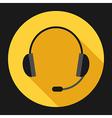 Headset on yellow vector image