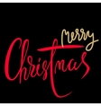 Merry Christmas gold and red lettering design vector image