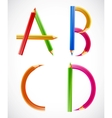 Colorful alphabet of pencils A B C D vector image