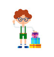 cute little boy with stack of gift boxes icon vector image