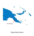 Detailed map of Papua New Guinea and capital city vector image