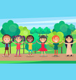 happy children holding hands in summer park vector image